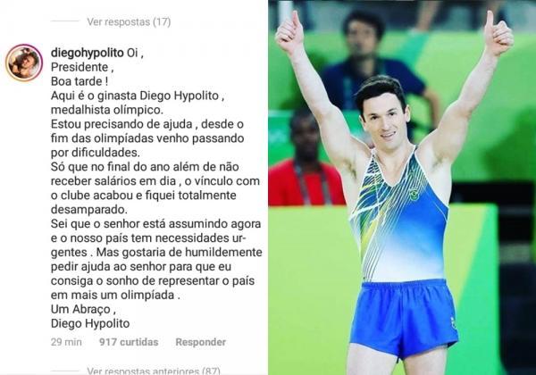 Diego Hypolito é demitido e pede ajuda ao presidente Bolsonaro