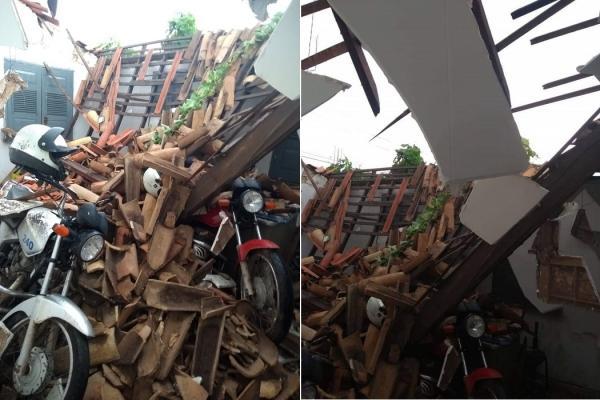 Parte do teto do prédio da Agespisa desaba e causa destruição em Esperantina