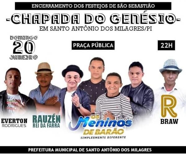 Show com Os Meninos de Barão marcará o encerramento do festejo da Comunidade Chapada do Genésio