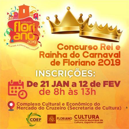 Floriano   Inscrições para o concurso de Rei e Rainha do Carnaval 2019 estão abertas