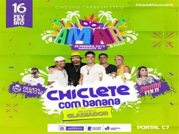Chiclete com Banana animará Zé Pereira de Amarante, em 16 de fevereiro