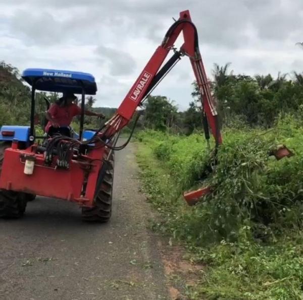 Prefeitura de Miguel Leão realiza roço e limpeza nas margens da rodovia de acesso ao município