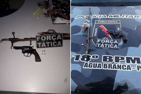 Homem é preso com armas e munições após atirar em via pública na cidade de Água Branca