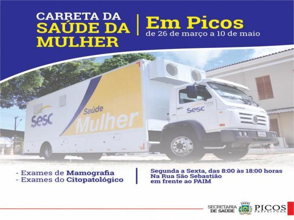 Picos recebe carreta da saúde da mulher nesta terça feira (26)