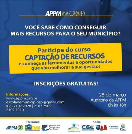 Atenção gestor municipal! APPM realizará curso 'Captação de Recursos' nesta quinta-feira (28/03)
