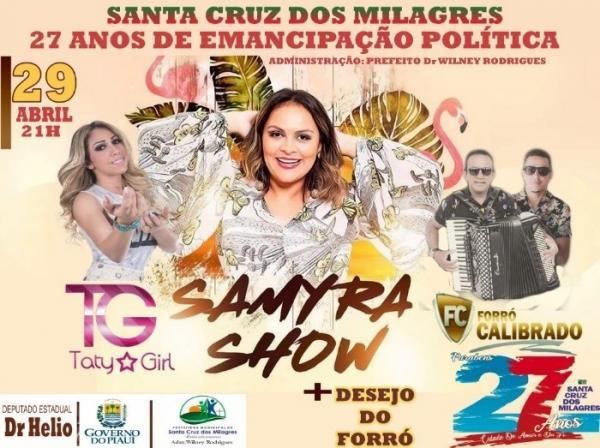 Prefeitura divulga programação do aniversário de 27 anos de Santa Cruz dos Milagres; veja