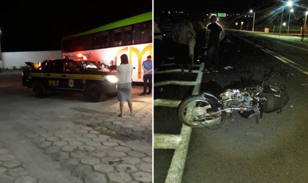 Acidente entre moto e ônibus de passageiros deixa homem gravemente ferido na BR 343 em Água Branca