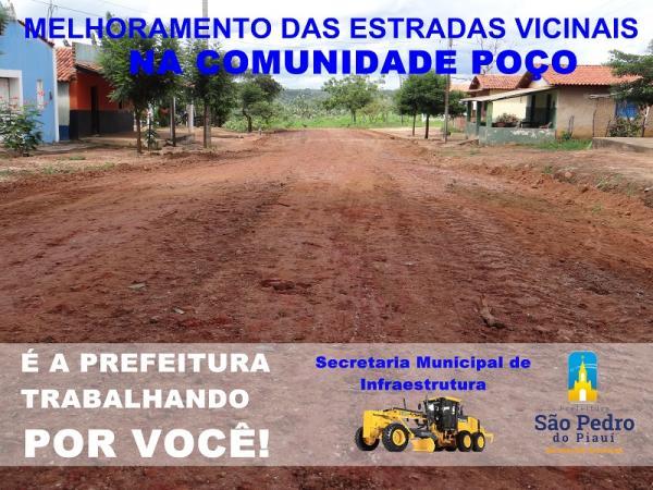 Mais obras   A Secretaria de Infraestrutura recupera estradas na localidade Poço