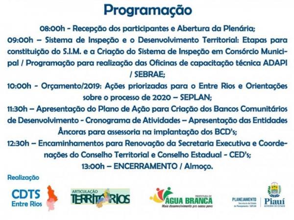 Água Branca | Plenária define destinação de recursos do orçamento para Território do Entre Rios