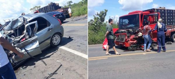 Homem morre e mulher fica ferida após colisão frontal na BR-343