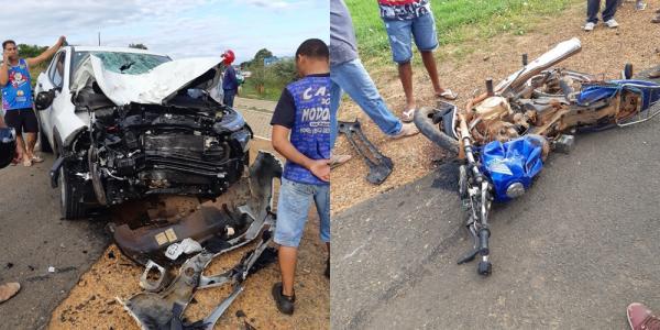 Casal morre em grave acidente entre carro e moto na BR 230, em Oeiras