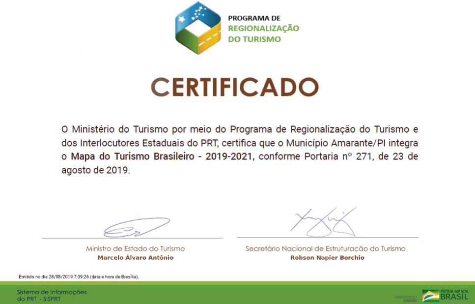 Amarante recebe certificado de Ministério por integrar Mapa do Turismo Brasileiro