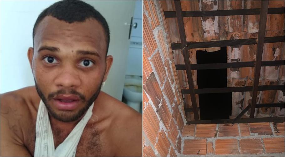 Acusado, que segundo a PM, entrou pelo teto da casa para cometer o crime/Divulgação