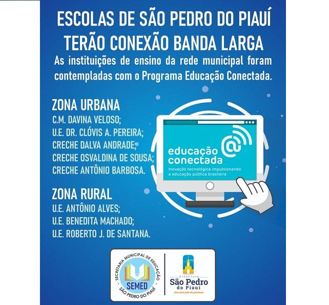 São Pedro do PI | Ministério da educação contempla escolas municipais com internet banda larga