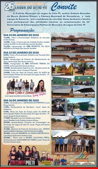 Confira a programação completa dos 26 anos de Emancipação Politica de Lagoa do Sítio