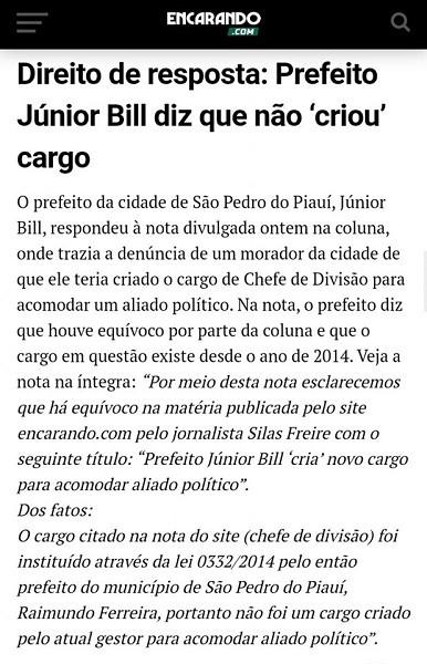 Prefeitura de São Pedro do Piauí emite nota de repúdio sobre 'matéria' publicada em site da capital